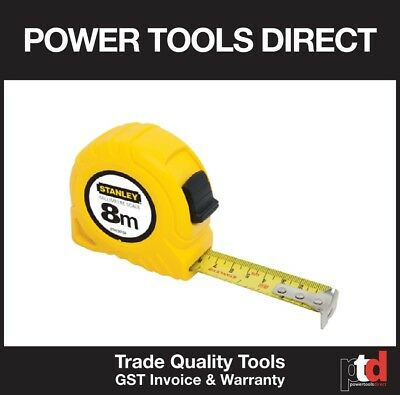 New Stanley 8 Metre 8M Tape Measure Yellow - Heavy Duty Quality