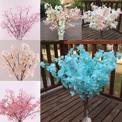 Home Decor Peach Blossom Cherry Plum Branch Silk Flowers Wedding Bouquet Popular