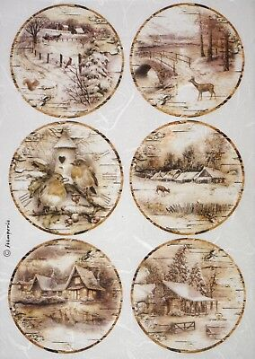 Rice Paper for Decoupage DecopatchScrapbook Craft Sheet Landscape with Snow