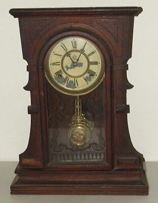 Antique 1874 Waterbury Walnut Victorian Parlor Mantel Shelf Clock