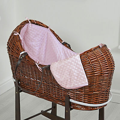 New 4Baby Pink Dimple Dark Wicker Baby Moses Basket / Snooze Pod With Mattress