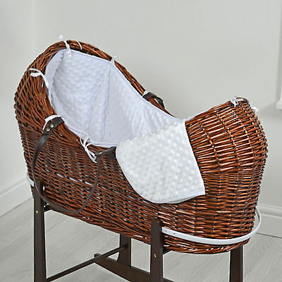 New 4Baby White Dimple Dark Wicker Baby Moses Basket / Snooze Pod With Mattress