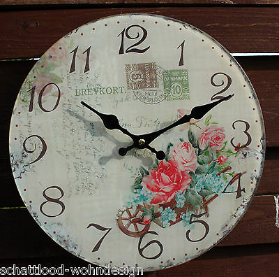 Wall clock Glass Watch Rose Nostalgia Style round Shabby Chic Country House