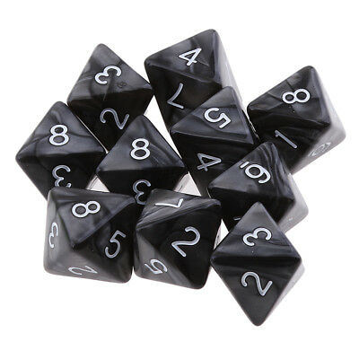 10x D8 Polyhedral Dice 8 Sided Dice for Dungeons and Dragons MTG RPG Black