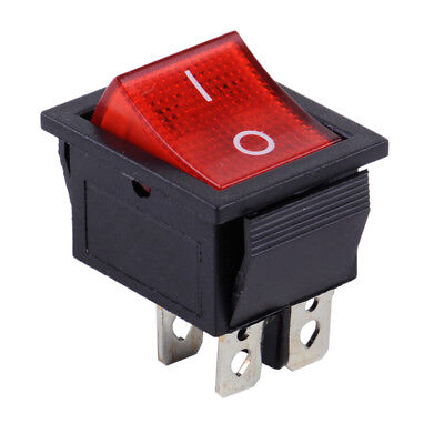 Snap-in AC 110V-220V 2 Position 4 Pin Power Control Boat Rocker Switch Red Light