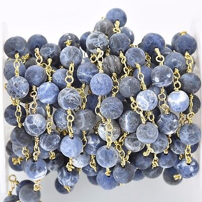 3ft Matte SODALITE GEMSTONE Rosary Chain bright gold, denim blue white fch0681a