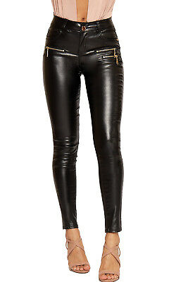 Womens Faux Leather Pu Wet Look High Waisted Trousers Ladies Skinny Leg Jeans