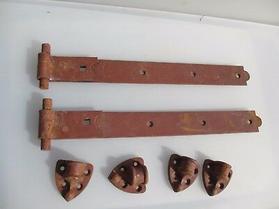 "Large Vintage Iron Gate Strap Hinges Brackets Gate Architectural Antique  18""L"