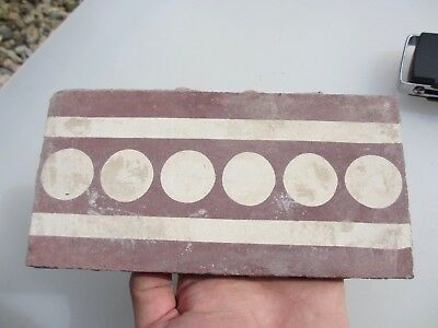 Victorian Ceramic Floor Tile Antique Old Vintage Old Border Terracotta 1800's