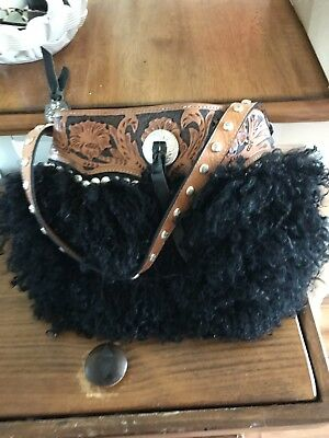 Montana Silversmiths Tooled Leather Woolly Angora Shoulder Bag Black