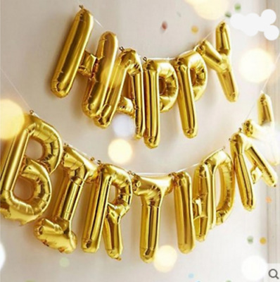 """LARGE Self Inflating Happy Birthday Banner Balloon Bunting GOLD 16"""" Letters Foil"""