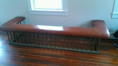 ANTIQUE ENGLISH BRASS CLUB FENDER FIREPLACE SEAT * BENCH LEATHER SEAT * 1800's