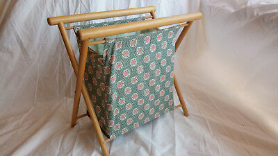 Vintage Folding Sewing Knitting Crochet Yarn Fabric Bag Wood Frame Stand Crafts