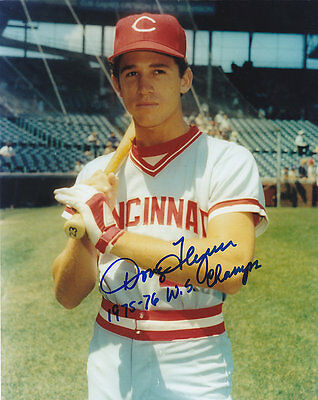 DOUG FLYNN  CINCINNATI REDS 75-76 WS CHAMPS   ACTION SIGNED 8x10