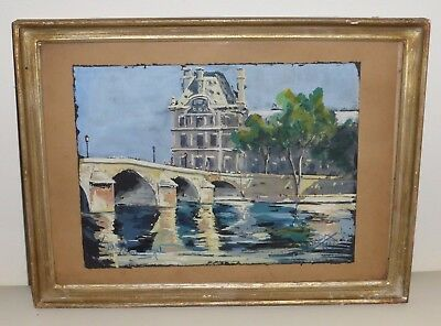 Early 20Th Century Signed French Watercolor Painting 1940S