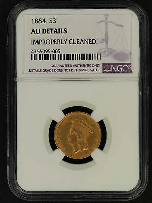 1854 $3 Gold Indian Princess NGC AU Details Improperly Cleaned -156840