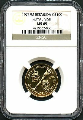 1975FM Bermuda Gold $100 Royal Visit NGC MS-69 -136049