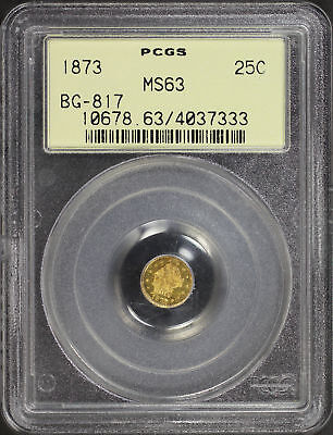 1873 California Fractional Gold Liberty Round 25C BG-817 PCGS MS-63 OGH -144991