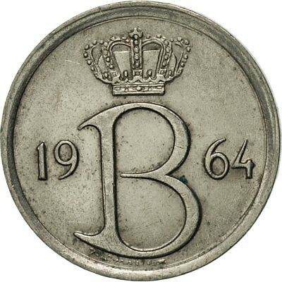 [#421719] Belgium, 25 Centimes, 1964, Brussels, AU(50-53), Copper-nickel