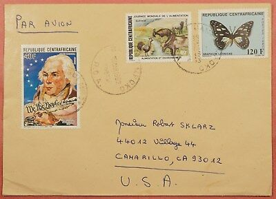 1992 Central Africa Bangui Cancel Airmail Cover To Usa
