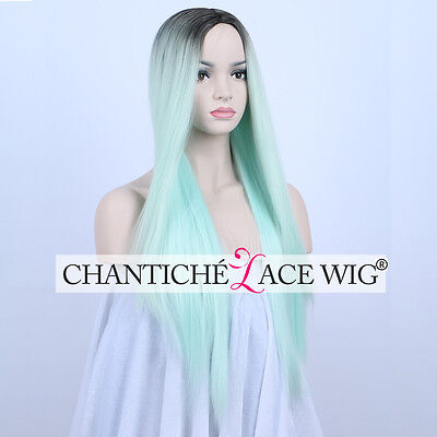 24 Dark Roots Ombre Green Synthetic Wigs Long Straight None Lace