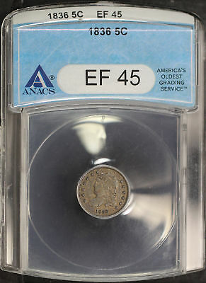 1836 Capped Bust Silver Half Dime ANACS EF-45 -144282