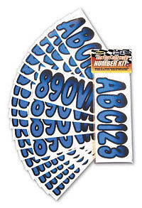 """BOAT 3/"""" INCH LETTER,NUMBER,STICKERS,NUMBERS KIT BLUE BOATER SPORTS 52310"""