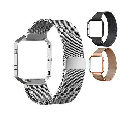 NICE Magnetic Stainless Steel Wrist watch Band Strap+Frame For Fitbit Blaze