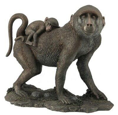"10.5"" Baboon and Baby Statue Sculpture Figurine Animal Decor Monkey Figure"