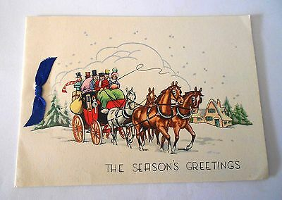 VINTAGE 1950s CHRISTMAS CARD - THE SEASON'S GREETINGS WITH BOW HORSES & CARRIAGE
