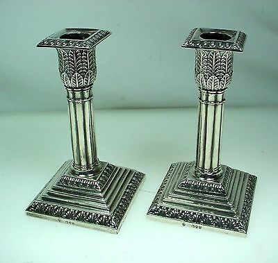 Antique Martin Hall Sterling Silver Candlesticks Pair London 1891