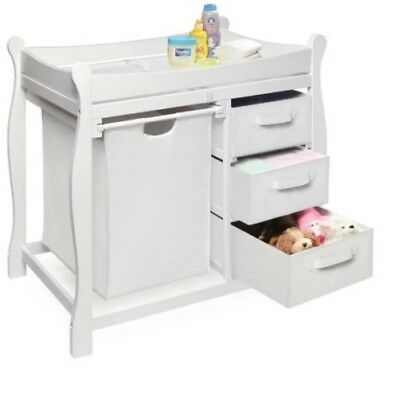 Changing Table Sleigh Baby Furniture Storage Organizer with Hamper & Drawers