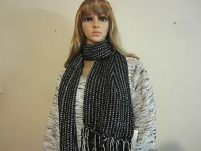 Charter Club Black White Knit Scarf Women's Winter Wrap with Tassels NWT #585