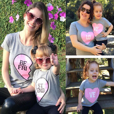AU Mother Daughter Family Matching Baby Girl Kids Top Blouse Clothes T-shirt Tee
