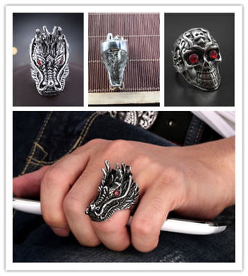 Newest Design Job Lots Dragon Loong Rings Alloy Cool Men's Jewelry