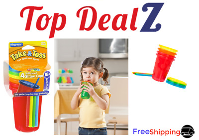 4 Pack Spill Proof Plastic Cups Tumbler Lids Straws Sippy Baby Toddler Kids NEW