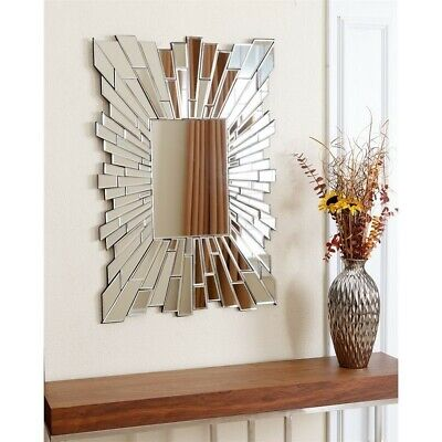 Abbyson Living Larisa Glass And Wood Mirror Mirrors In Silver