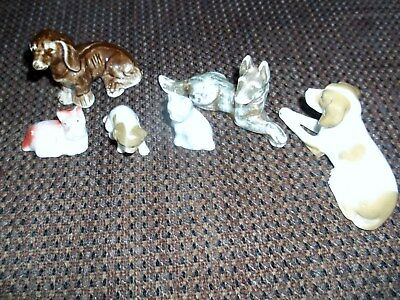 Mixed lot of Vintage Porcelain Dog Figurines-Japan--one from Germany Is Numbered