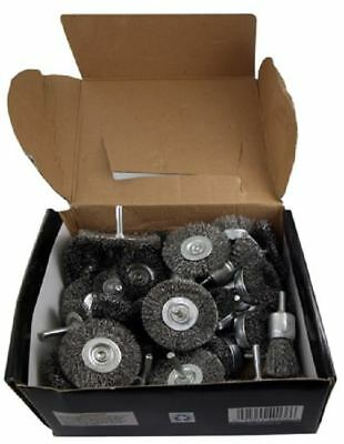 "Wire Wheel Brush Cup 40pc Assortment Crimped Steel 1/4"" Shank Drills Rust Scale"