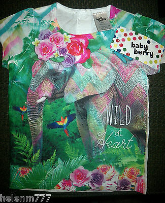 New Girl Size 00 3 - 6 M Wild At Heart Elephant Floral Jungle Short Sleeve Tee