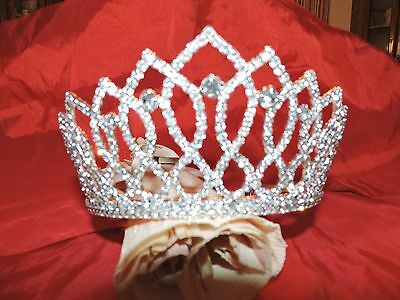 Crown/Tiara CLEAR STONES(LAST ONE) Queen Beauty Pag. Rhinestone Silver Tone NEW