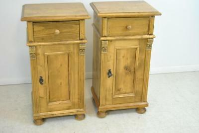Pair Of Antique Distressed Solid Pine Stands