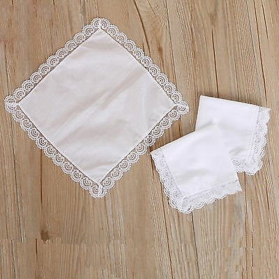 12 Pure White Women Lady Cotton Lace Hankies Sweet Handkerchiefs Wedding Party A
