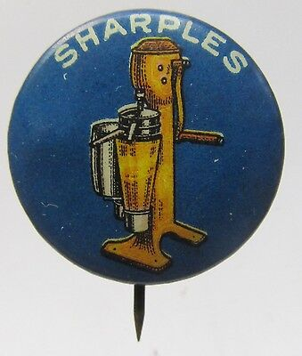 circa 1910 miniature SHARPLES Cream Separator dairy celluloid pinback button  *