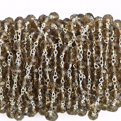 1 yard SMOKE GREY Crystal Rosary Chain silver double 8mm rondelle fch0737a