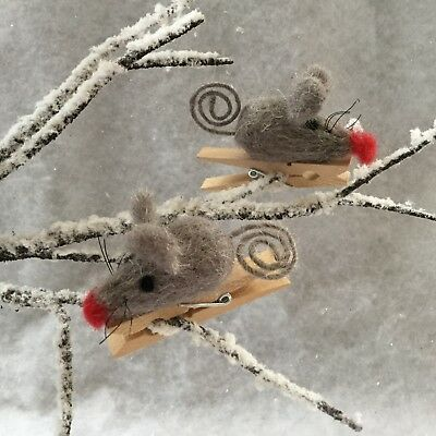 1x Cute Grey Mouse Peg Decoration Christmas Tree Mice Clip Wool Country Animal