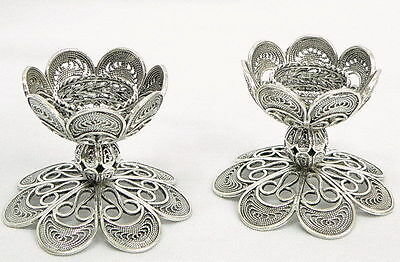 Petite Yemenite Filigree Shabbat Candlesticks Candle Holders, Silver Judaica Art