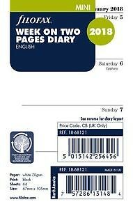 Filofax 2018 Refill - Mini, Week On Two Pages, English (18-68121) NEW, Free Post