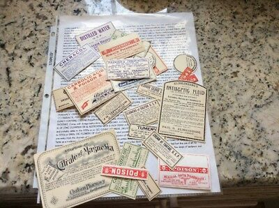 Medicine Labels, Lot of 25 Vintage from various States  W/ Research And Info !