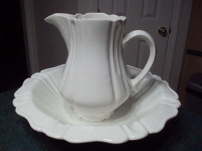 Antique Large White Ceramic Pitcher & Basin Markings Calif USA H17 14.25 Wide